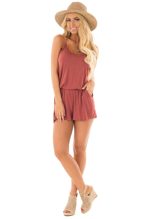 Brick Red V Neck Romper with Side Pockets front full body