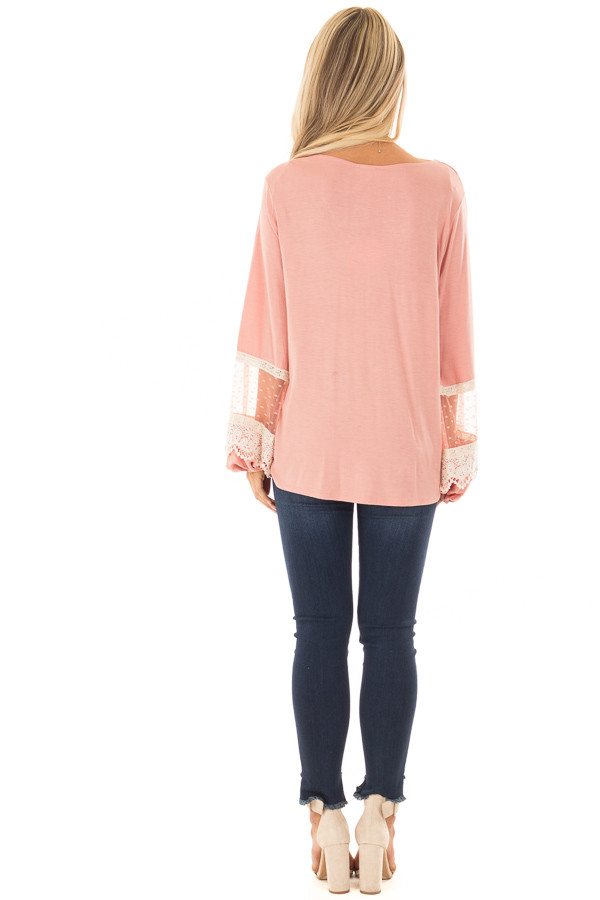 Light Pink Surplice Top with Bubble Sleeves back full body