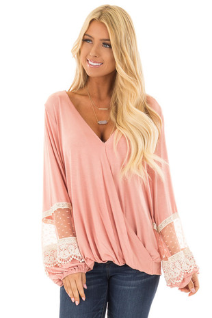 Light Pink Surplice Top with Bubble Sleeves front closeup
