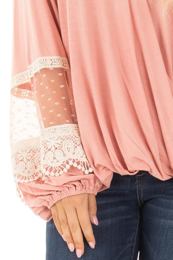 Light Pink Surplice Top with Bubble Sleeves front detail