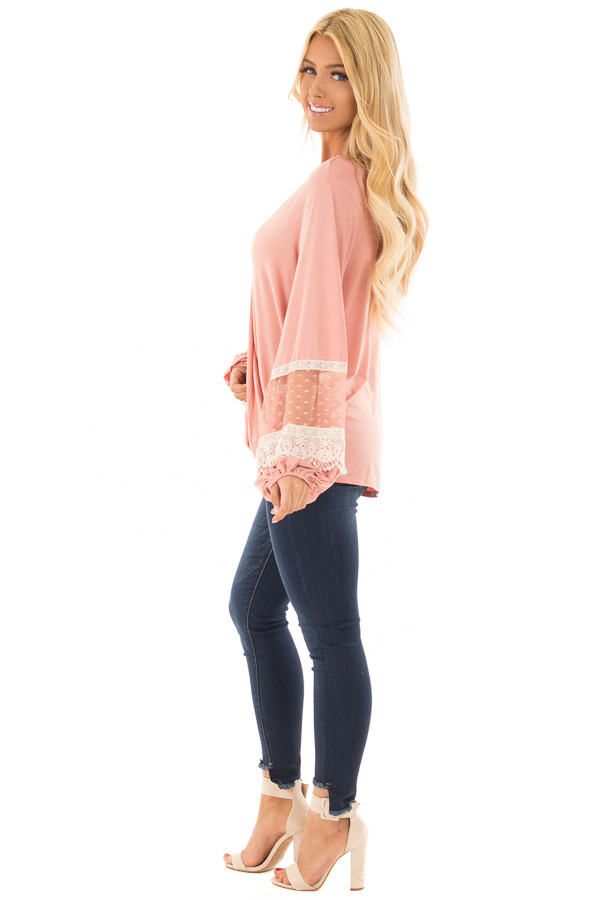 Light Pink Surplice Top with Bubble Sleeves side full body