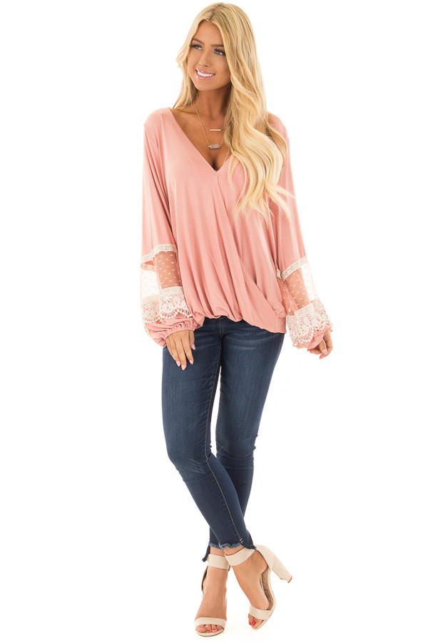 Light Pink Surplice Top with Bubble Sleeves front full body