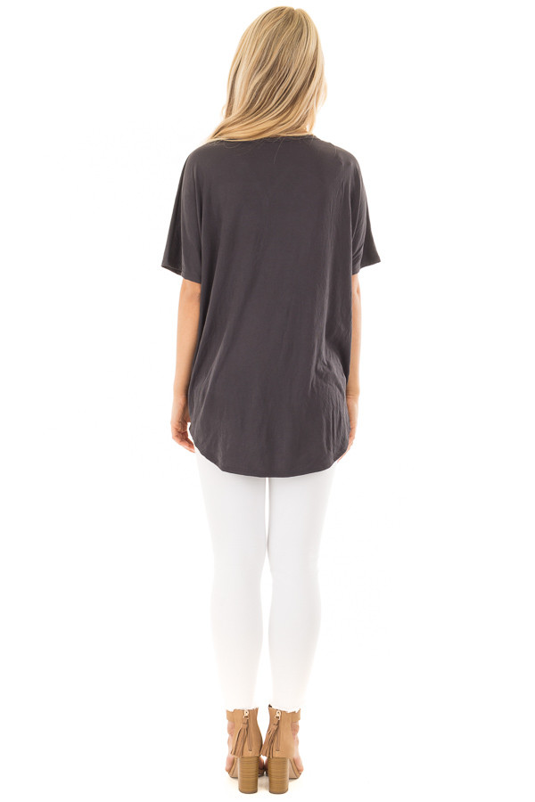 Charcoal Button Down Top with Short Dolman Sleeves back full body