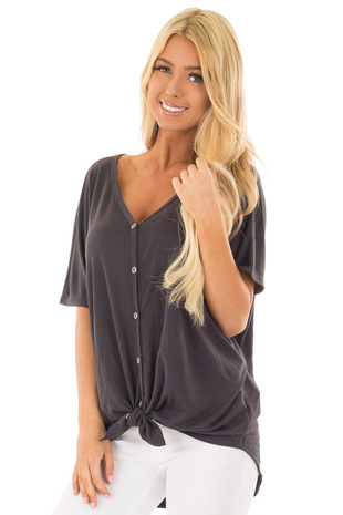 Charcoal Button Down Top with Short Dolman Sleeves front closeup