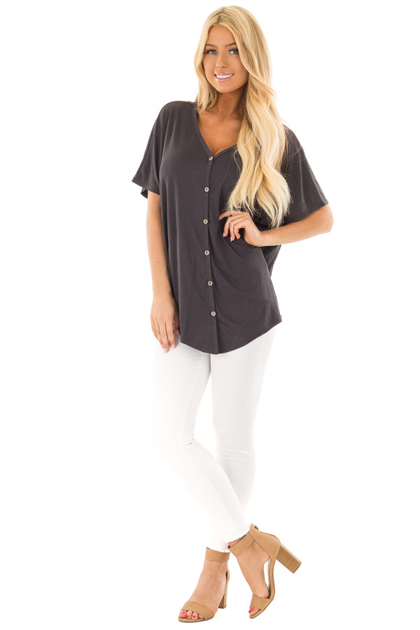 Charcoal Button Down Top with Short Dolman Sleeves front full body
