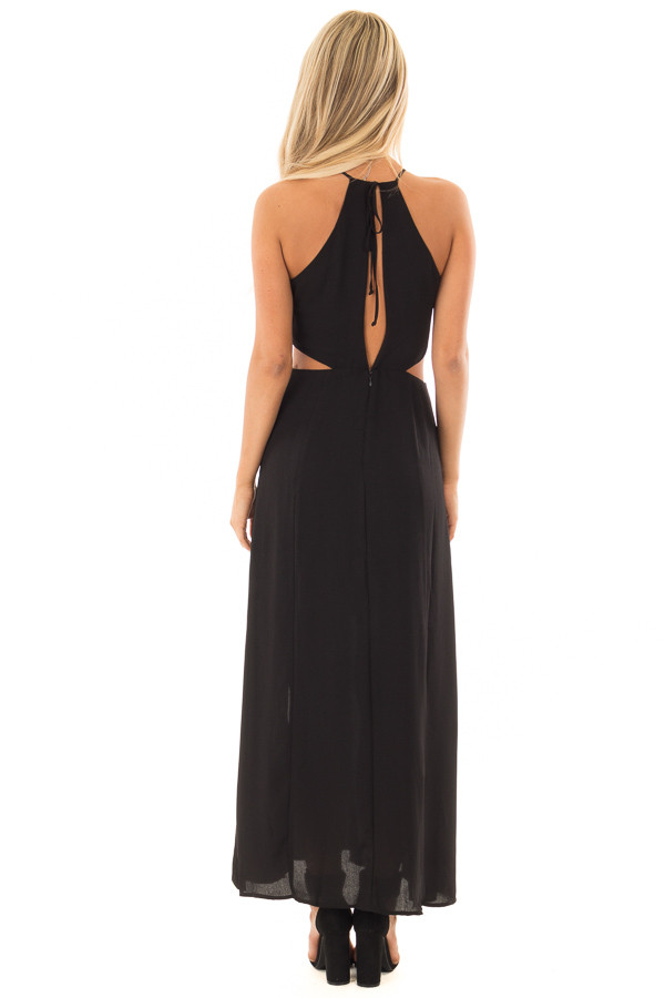 Black Dress with Cut Out Details and Double Front Slits back full body
