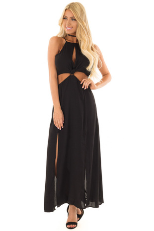 Black Dress with Cut Out Details and Double Front Slits front full body