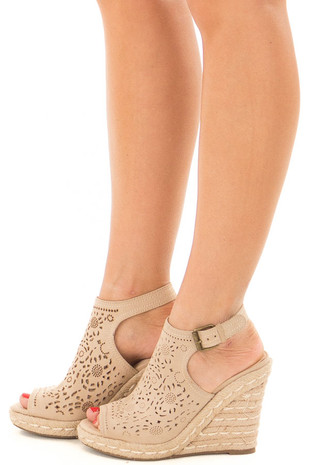 Nude Detailed Cut Out Open Toe Wedge side