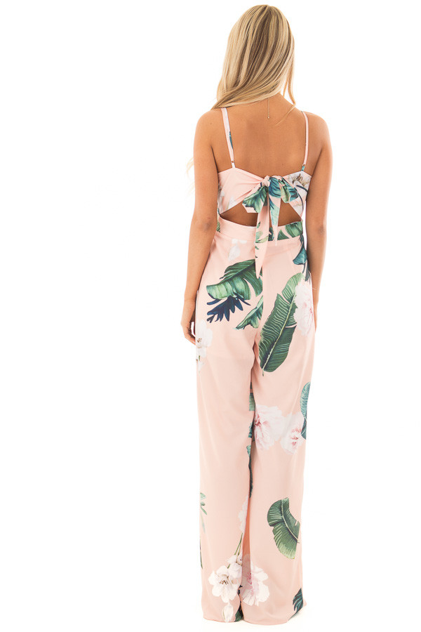 Blush Floral Print Jumpsuit with Open Tie Back back full body