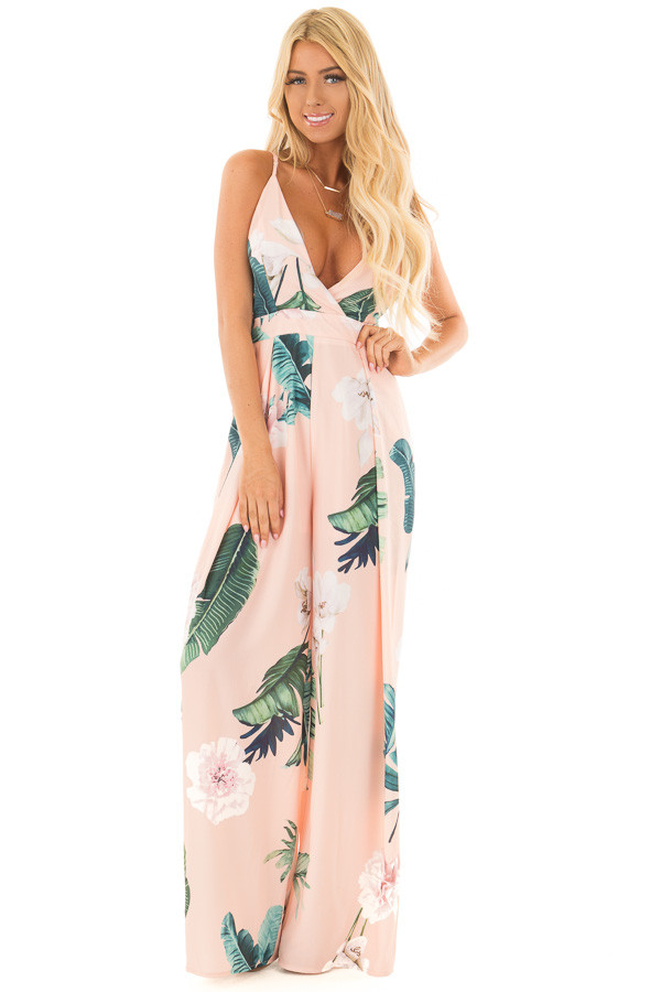 Blush Floral Print Jumpsuit with Open Tie Back front full body
