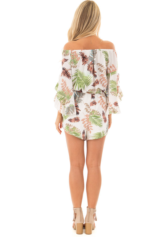 Ivory Tropical Print Off the Shoulder Romper back full body