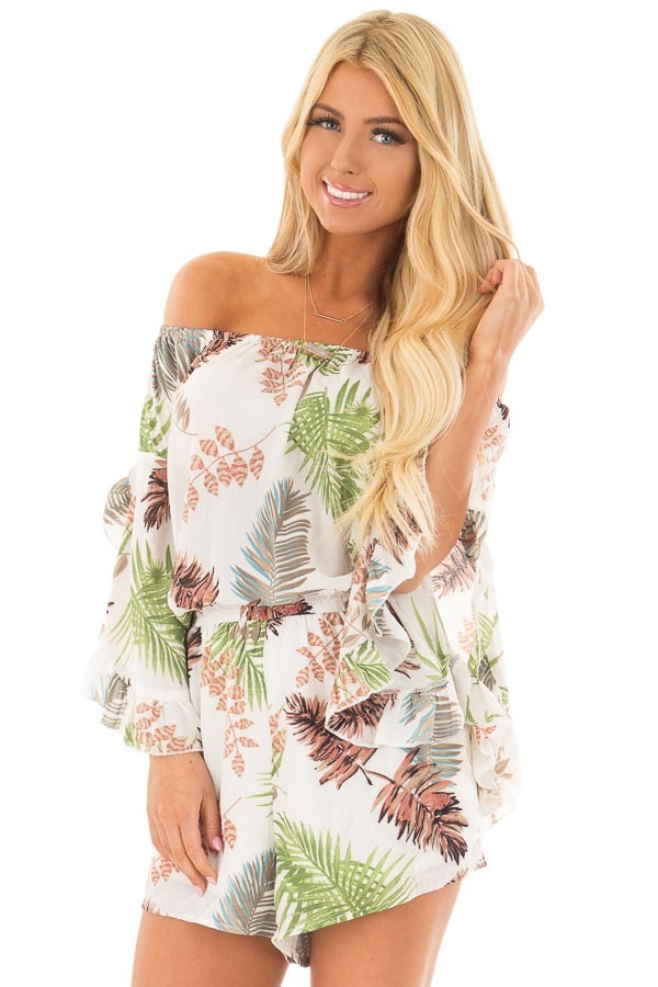 Ivory Tropical Print Off the Shoulder Romper front closeup
