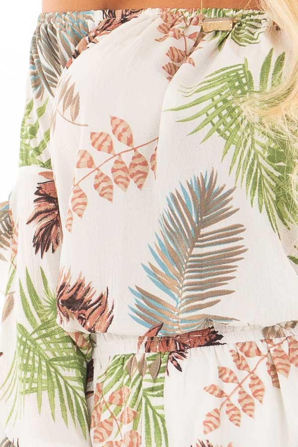 Ivory Tropical Print Off the Shoulder Romper front detail