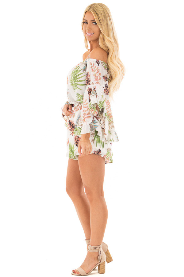 Ivory Tropical Print Off the Shoulder Romper side full body