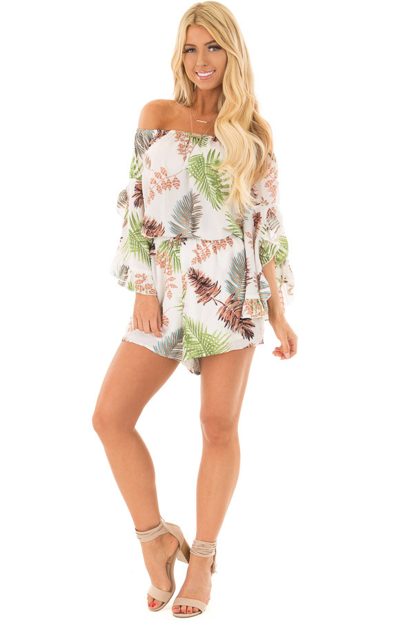 Ivory Tropical Print Off the Shoulder Romper front full body