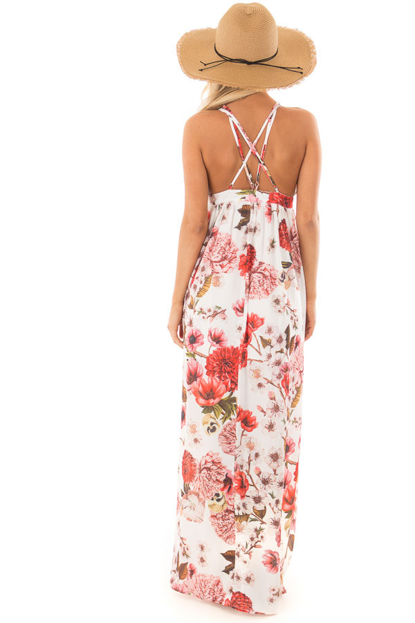 Off White Floral Print Strappy Maxi Dress with Side Slits back full body
