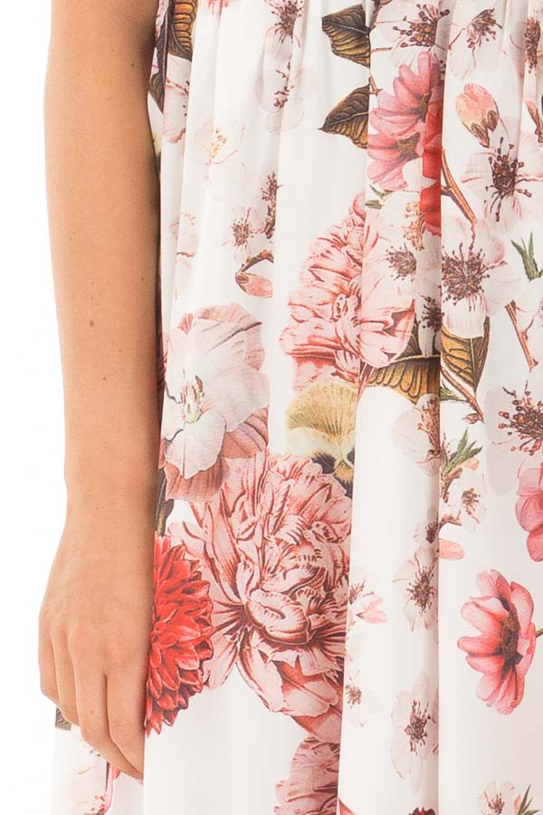 Off White Floral Print Strappy Maxi Dress with Side Slits front detail