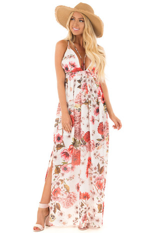 Off White Floral Print Strappy Maxi Dress with Side Slits front full body