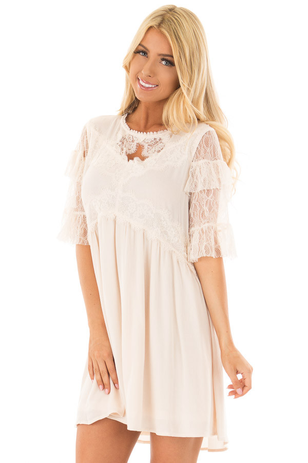 Cream Keyhole Dress with Lace Contrast front closeup