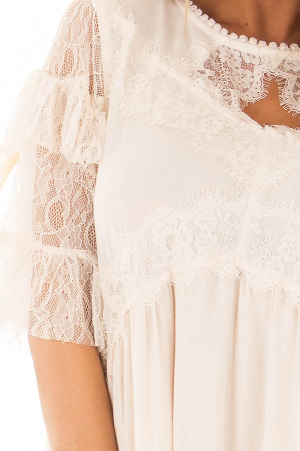 Cream Keyhole Dress with Lace Contrast front detail