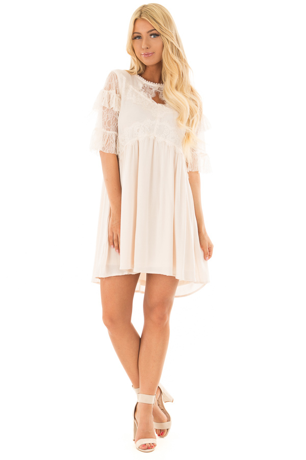 Cream Keyhole Dress with Lace Contrast front full body