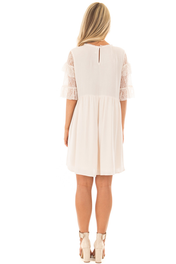 Cream Keyhole Dress with Lace Contrast back full body