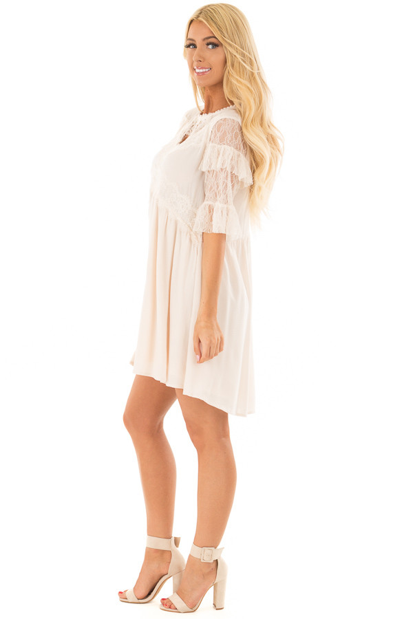 Cream Keyhole Dress with Lace Contrast side full body