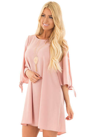 Dusty Rose Dress with Open Sleeves and Tie Details front closeup