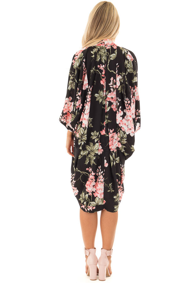 Black Floral Print Rounded Hem Kimono back full body