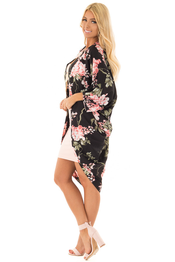 Black Floral Print Rounded Hem Kimono side full body