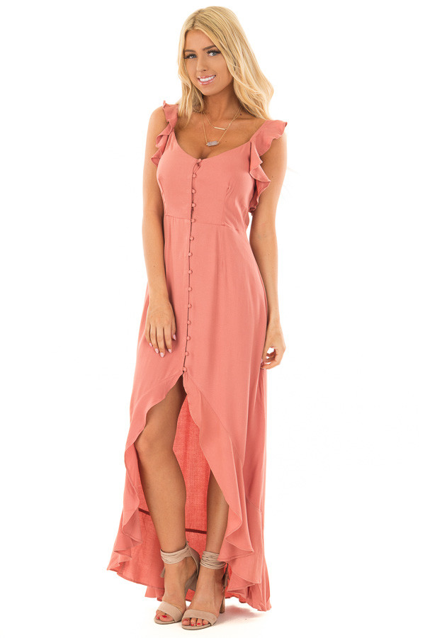 Canyon Rose Button Down High Low Dress with Ruffle Details front full body