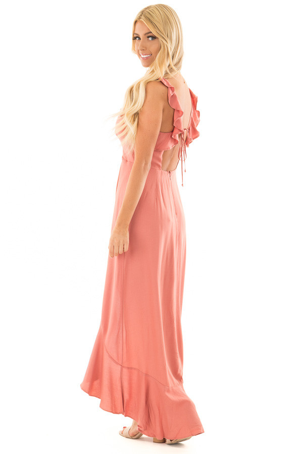 Canyon Rose Button Down High Low Dress with Ruffle Details side full body