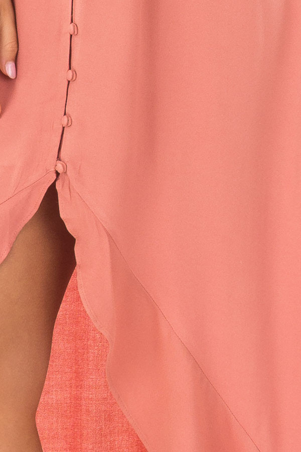 Canyon Rose Button Down High Low Dress with Ruffle Details front detail