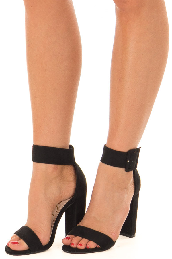 Black Faux Suede High Heel with Thick Buckle Ankle Strap front side
