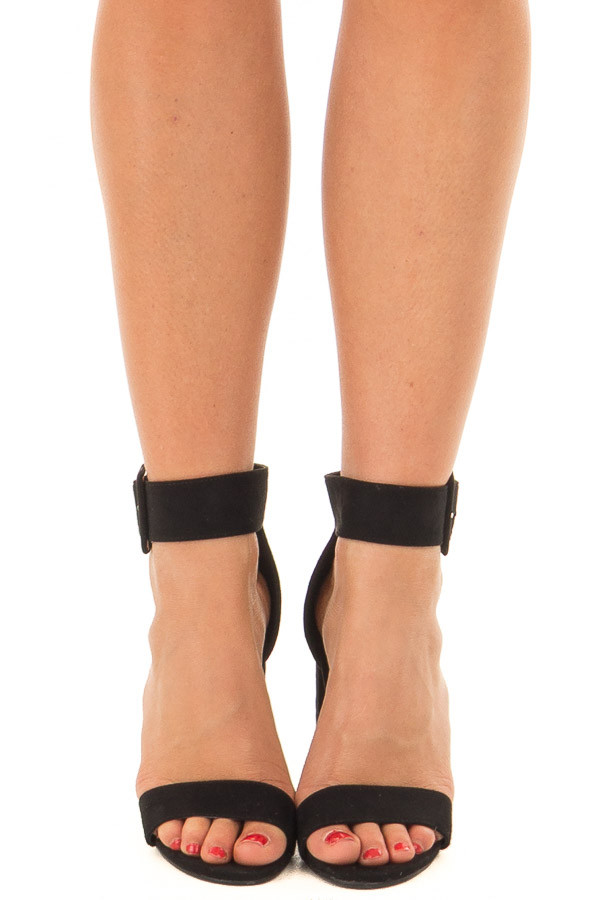 Black Faux Suede High Heel with Thick Buckle Ankle Strap front