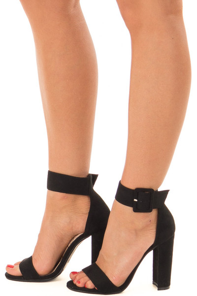 Black Faux Suede High Heel with Thick Buckle Ankle Strap side