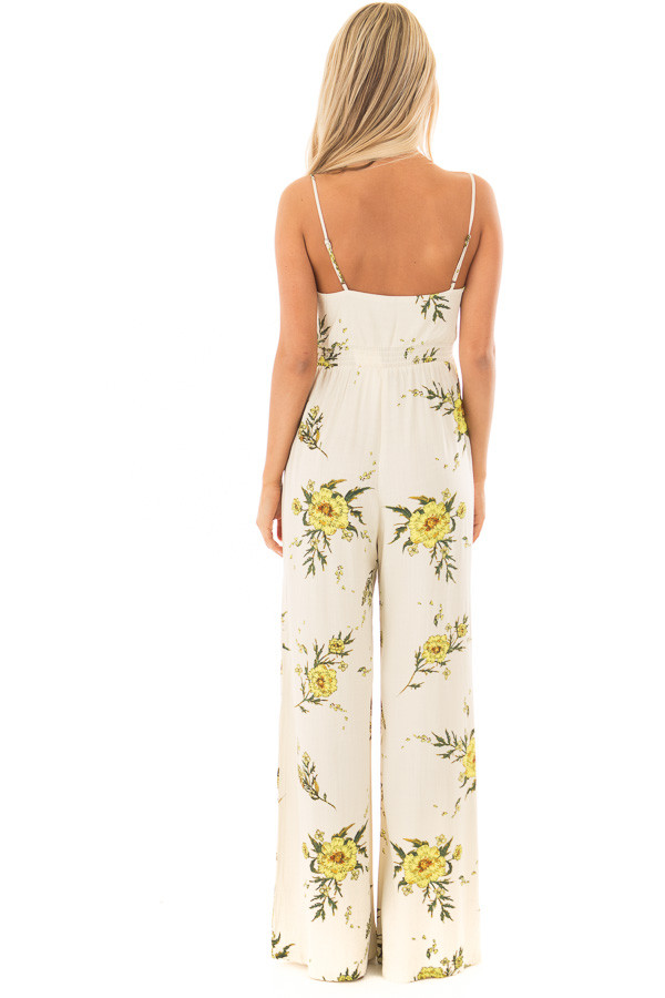Beige Jumpsuit with Sunshine Yellow Floral Print back full body