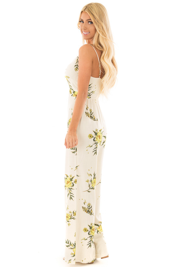 Beige Jumpsuit with Sunshine Yellow Floral Print side full body