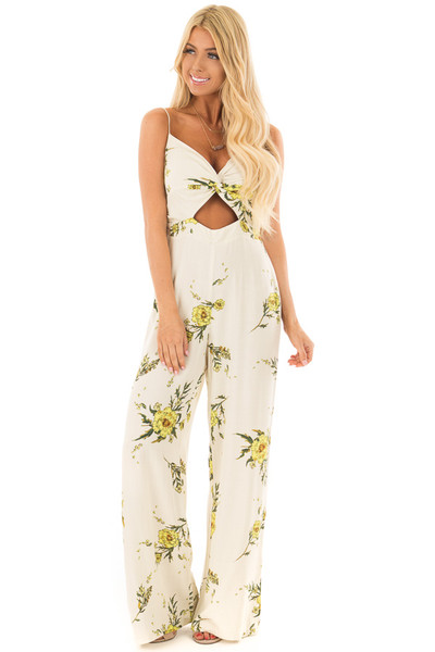 Beige Jumpsuit with Sunshine Yellow Floral Print front full body