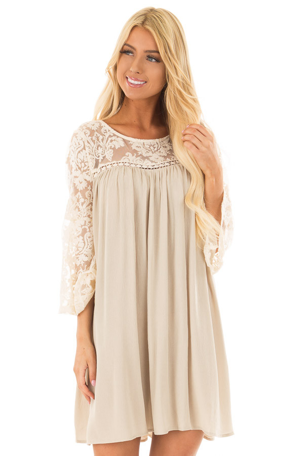 Dusty Sage Dress with Sheer Lace Yoke front closeup
