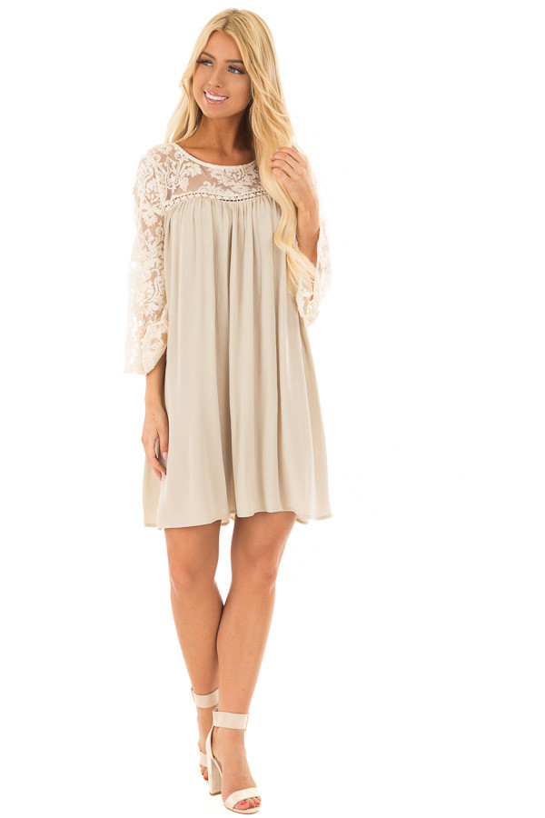 Dusty Sage Dress with Sheer Lace Yoke front full body