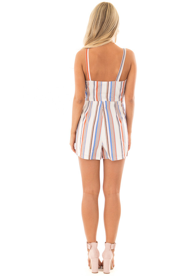 Multicolor Striped Romper with Waist Tie back full body