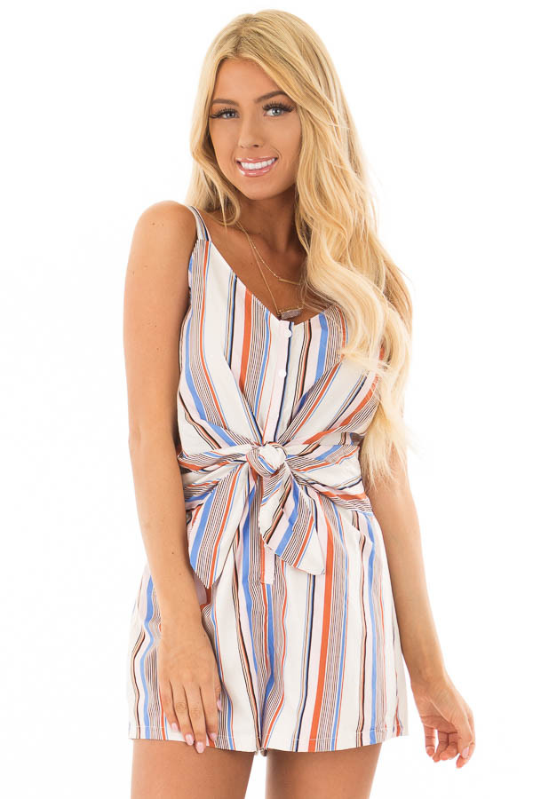 Multicolor Striped Romper with Waist Tie front closeup