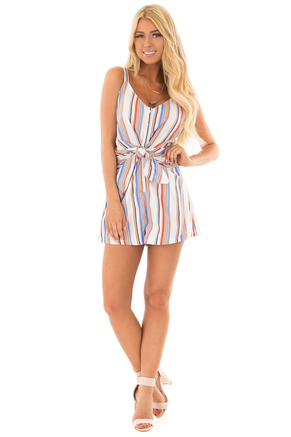 Multicolor Striped Romper with Waist Tie front full body