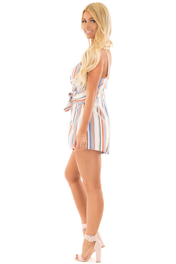 Multicolor Striped Romper with Waist Tie side full body