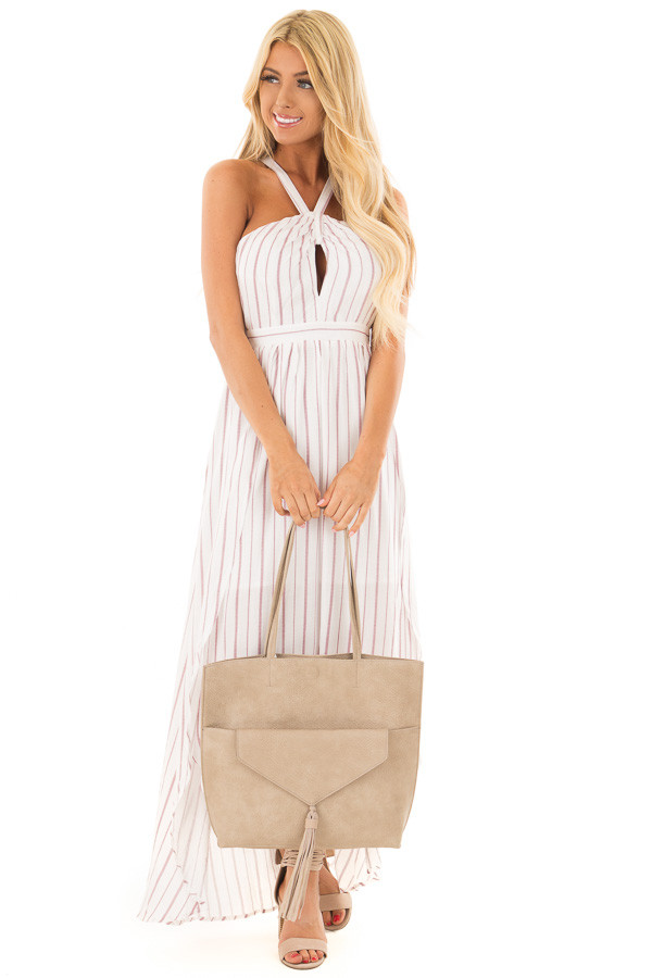 Taupe Tote with Front Clutch and Tassel Detail front full body
