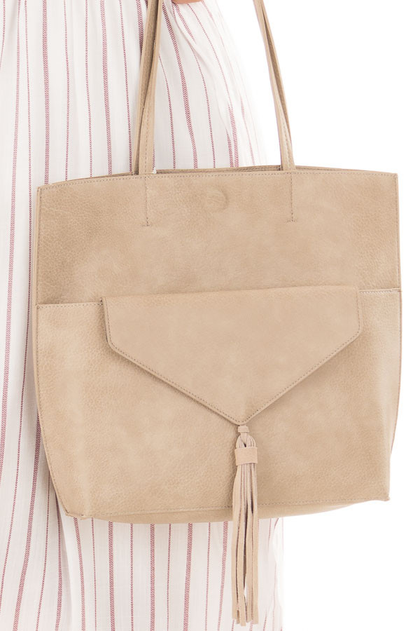 Taupe Tote with Front Clutch and Tassel Detail detail