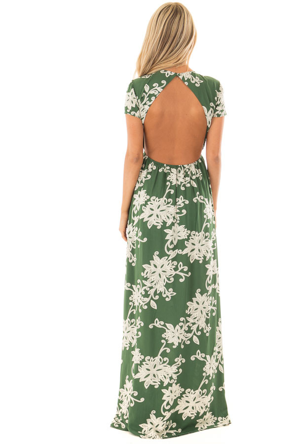 Jungle Green Floral Dress with Bust Cut Out and Tie Detail back full body