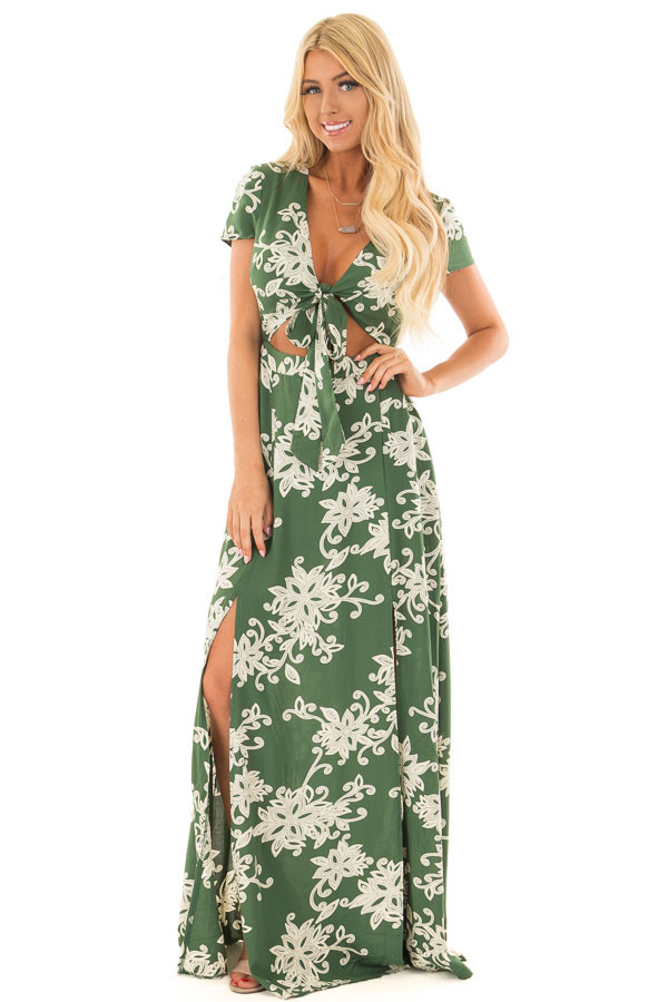 Jungle Green Floral Dress with Bust Cut Out and Tie Detail front full body