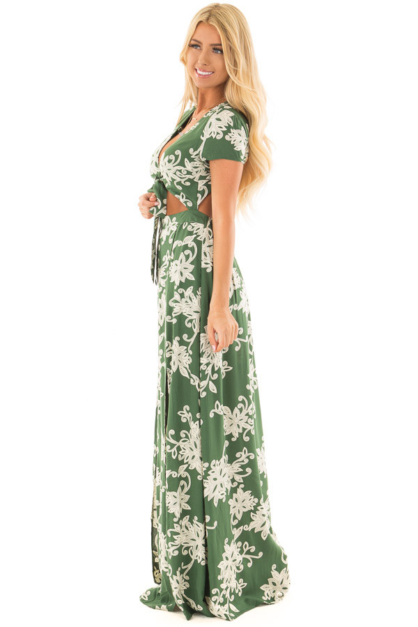 Jungle Green Floral Dress with Bust Cut Out and Tie Detail side full body